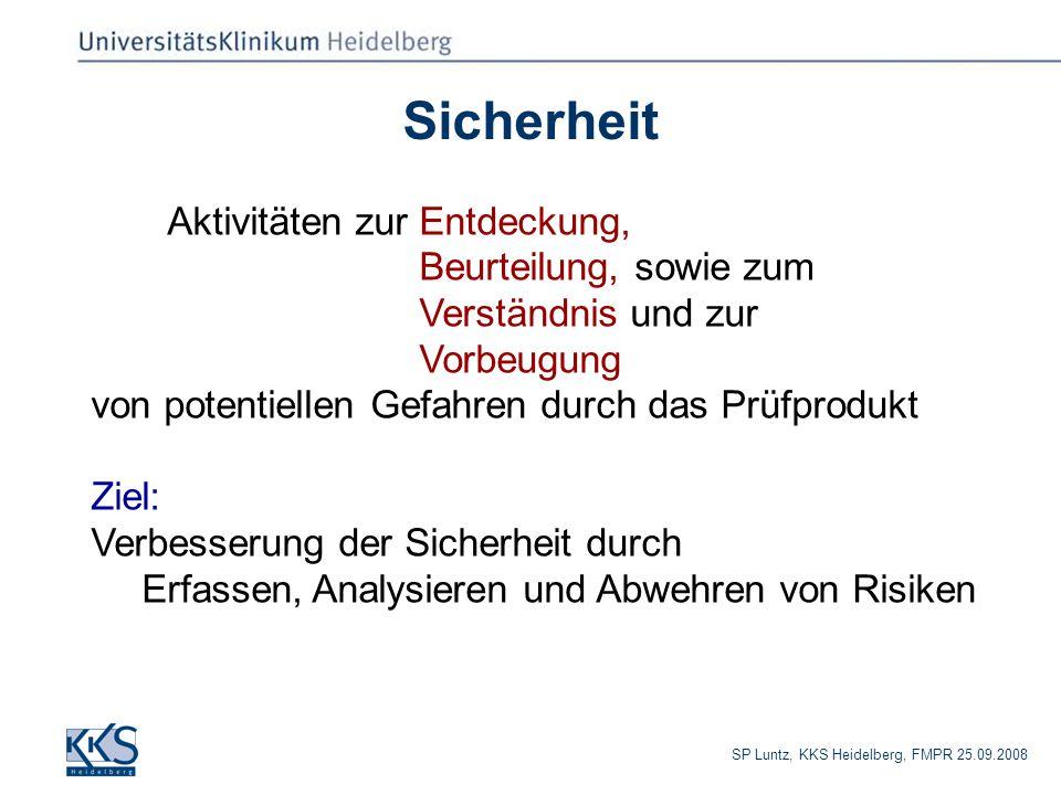 SP Luntz, KKS Heidelberg, FMPR 25.09.2008 Sicherheit Aktivitäten zur Entdeckung, Beurteilung, sowie zum Verständnis und zur Vorbeugung von potentiellen Gefahren durch das Prüfprodukt Ziel: Verbesserung der Sicherheit durch Erfassen, Analysieren und Abwehren von Risiken