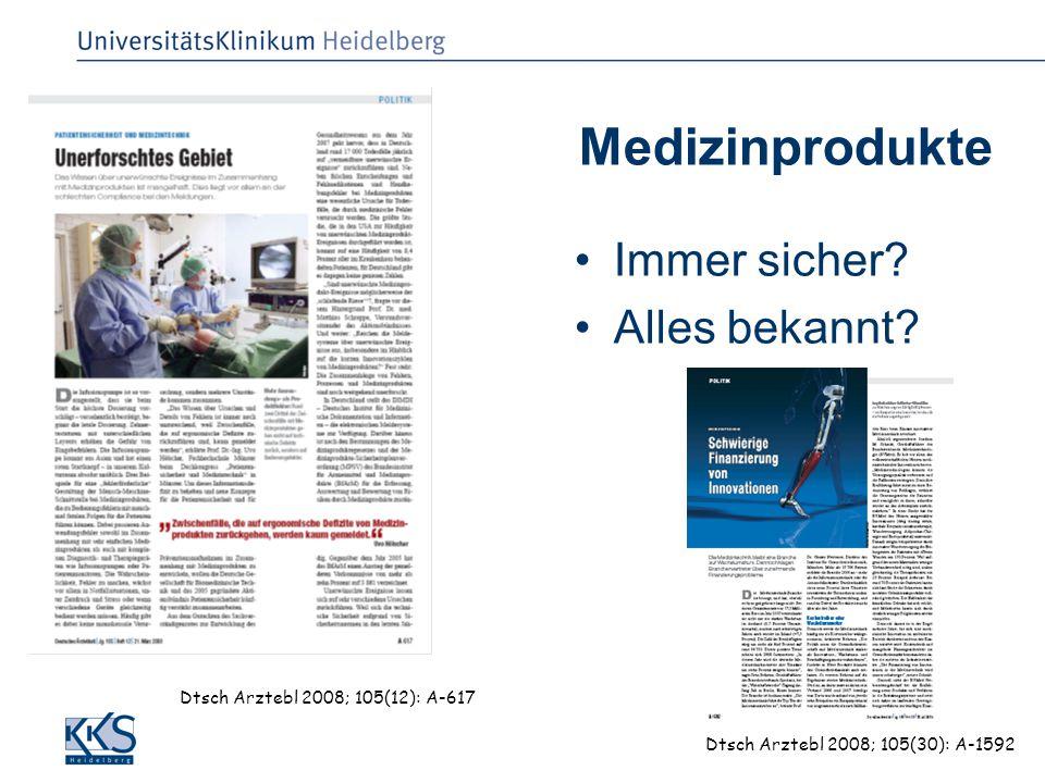 SP Luntz, KKS Heidelberg, FMPR 25.09.2008 Medizinprodukte Immer sicher? Alles bekannt? Dtsch Arztebl 2008; 105(12): A-617 Dtsch Arztebl 2008; 105(30):