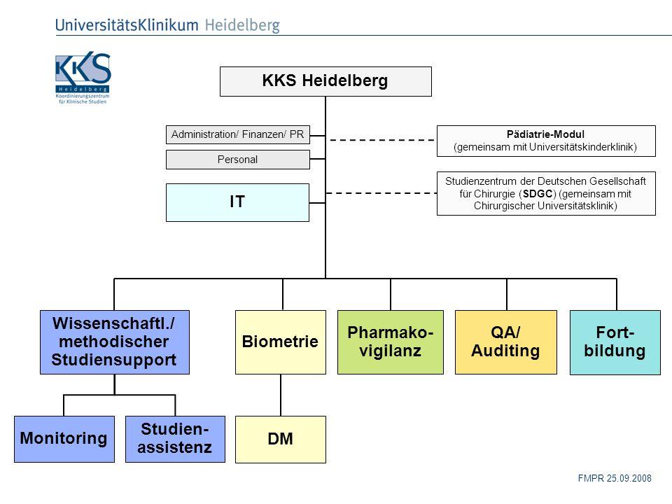 FMPR 25.09.2008 Pädiatrie-Modul (gemeinsam mit Universitätskinderklinik) Administration/ Finanzen/ PR KKS Heidelberg Wissenschaftl./ methodischer Stud