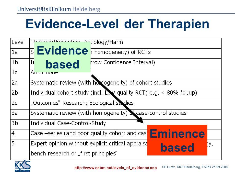 SP Luntz, KKS Heidelberg, FMPR 25.09.2008 Evidence-Level der Therapien http://www.cebm.net/levels_of_evidence.asp Evidence based Eminence based