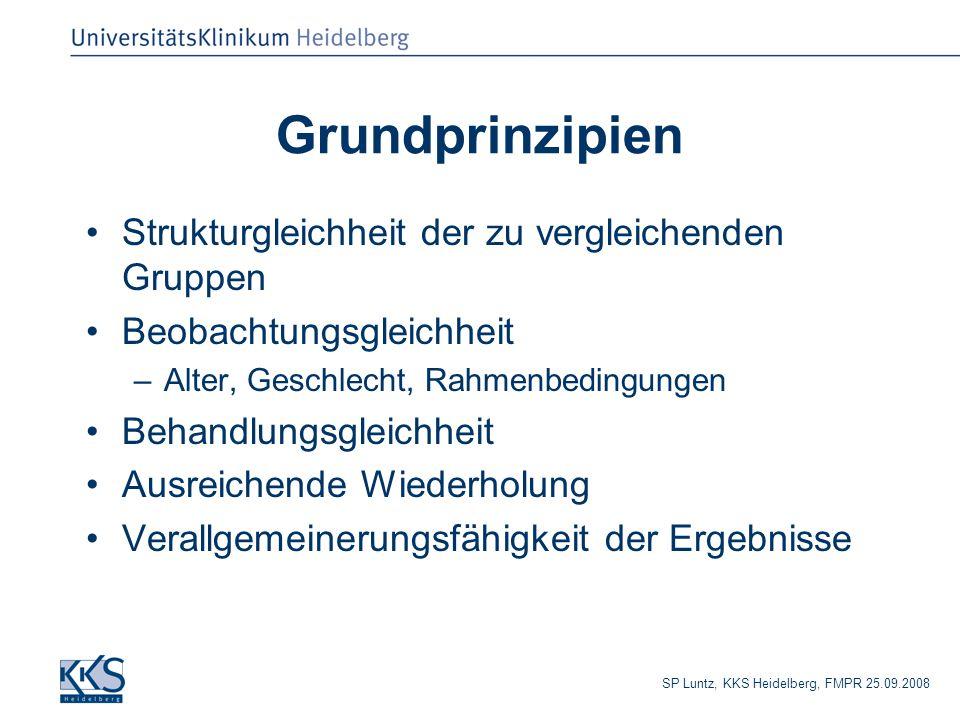 SP Luntz, KKS Heidelberg, FMPR 25.09.2008 Grundprinzipien Strukturgleichheit der zu vergleichenden Gruppen Beobachtungsgleichheit –Alter, Geschlecht, Rahmenbedingungen Behandlungsgleichheit Ausreichende Wiederholung Verallgemeinerungsfähigkeit der Ergebnisse