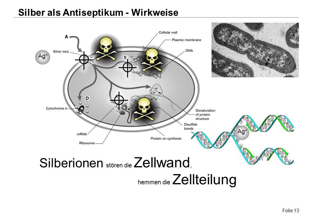 Folie 13 Ag + Silberionen stören die Zellwand, hemmen die Zellteilung Silber als Antiseptikum - Wirkweise Ag +