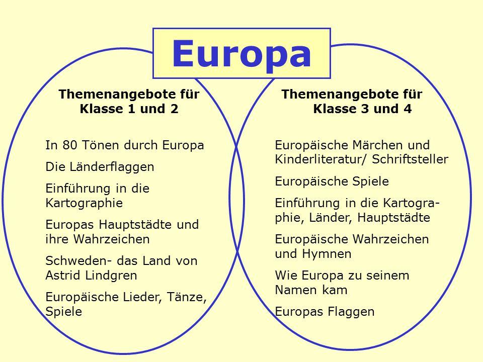 Themenangebote für Klasse 1 und 2 In 80 Tönen durch Europa Die Länderflaggen Einführung in die Kartographie Europas Hauptstädte und ihre Wahrzeichen S