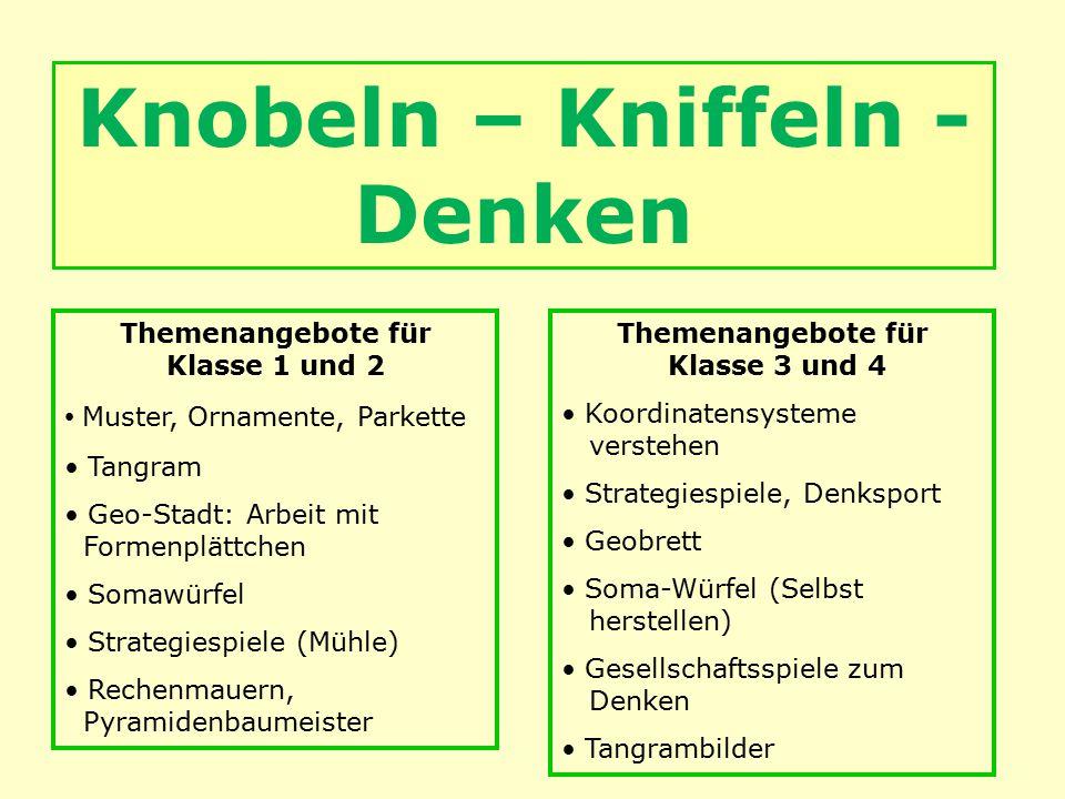 Knobeln – Kniffeln - Denken Themenangebote für Klasse 1 und 2 Muster, Ornamente, Parkette Tangram Geo-Stadt: Arbeit mit Formenplättchen Somawürfel Str