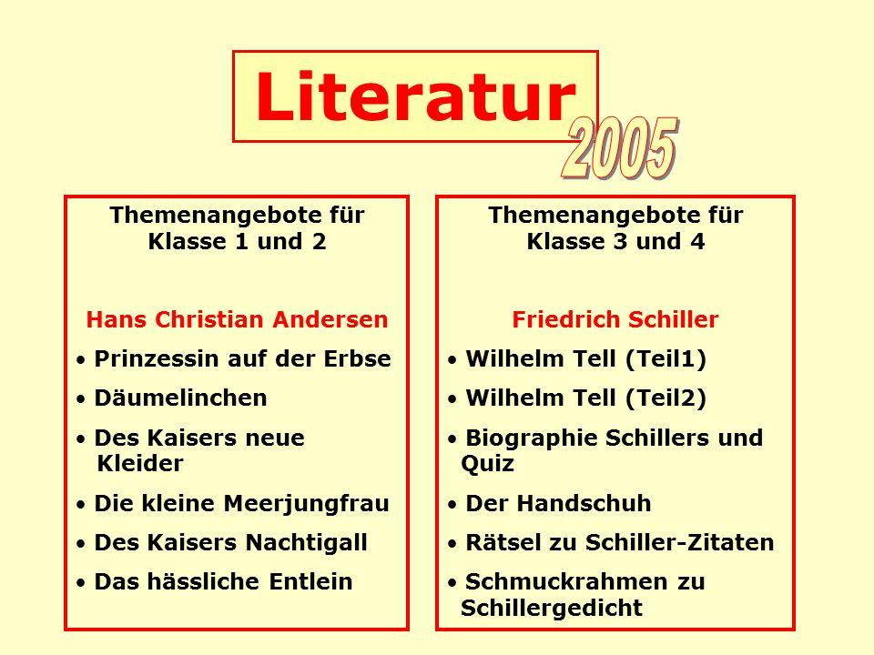 Literatur Themenangebote für Klasse 1 und 2 Hans Christian Andersen Prinzessin auf der Erbse Däumelinchen Des Kaisers neue Kleider Die kleine Meerjung