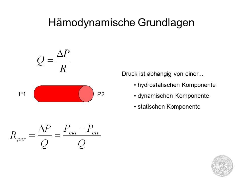 Hämodynamische Grundlagen P1 P2 Druck ist abhängig von einer...