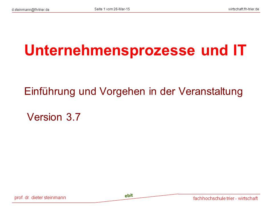 prof. dr. dieter steinmann d.steinmann@fh-trier.de Seite 1 vom 26-Mar-15wirtschaft.fh-trier.de fachhochschule trier - wirtschaft ebit Unternehmensproz