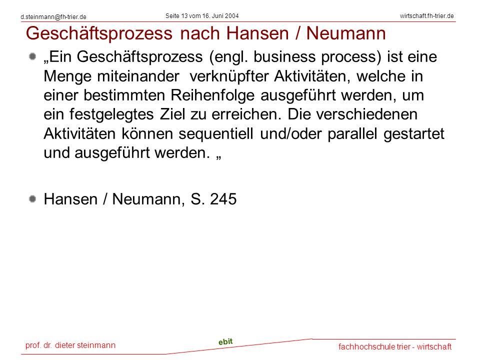 prof. dr. dieter steinmann Seite 13 vom 16. Juni 2004 ebit fachhochschule trier - wirtschaft wirtschaft.fh-trier.de d.steinmann@fh-trier.de Geschäftsp