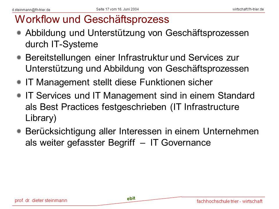 prof. dr. dieter steinmann Seite 17 vom 16. Juni 2004 ebit fachhochschule trier - wirtschaft wirtschaft.fh-trier.de d.steinmann@fh-trier.de Workflow u