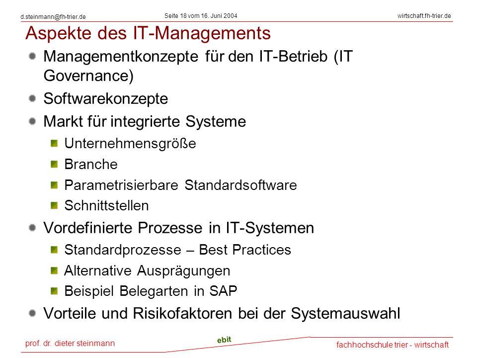 prof. dr. dieter steinmann Seite 18 vom 16. Juni 2004 ebit fachhochschule trier - wirtschaft wirtschaft.fh-trier.de d.steinmann@fh-trier.de Aspekte de