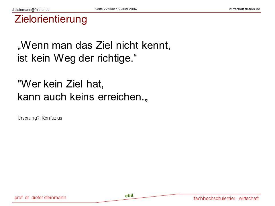 prof. dr. dieter steinmann Seite 22 vom 16. Juni 2004 ebit fachhochschule trier - wirtschaft wirtschaft.fh-trier.de d.steinmann@fh-trier.de Zielorient