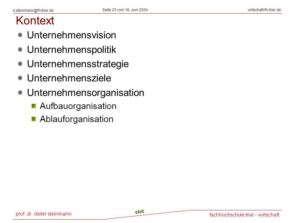 prof. dr. dieter steinmann Seite 23 vom 16. Juni 2004 ebit fachhochschule trier - wirtschaft wirtschaft.fh-trier.de d.steinmann@fh-trier.de Kontext Un