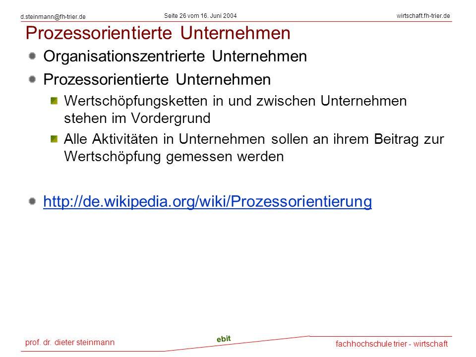 prof. dr. dieter steinmann Seite 26 vom 16. Juni 2004 ebit fachhochschule trier - wirtschaft wirtschaft.fh-trier.de d.steinmann@fh-trier.de Prozessori