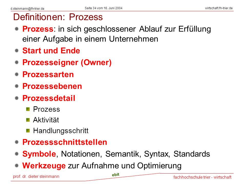 prof. dr. dieter steinmann Seite 34 vom 16. Juni 2004 ebit fachhochschule trier - wirtschaft wirtschaft.fh-trier.de d.steinmann@fh-trier.de Definition
