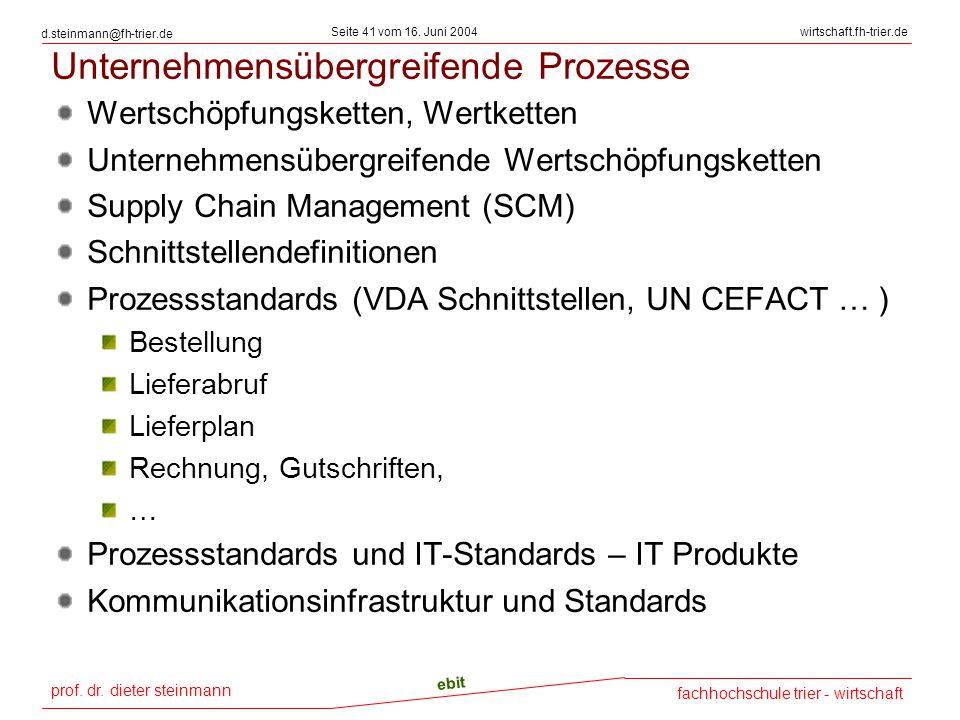 prof. dr. dieter steinmann Seite 41 vom 16. Juni 2004 ebit fachhochschule trier - wirtschaft wirtschaft.fh-trier.de d.steinmann@fh-trier.de Unternehme