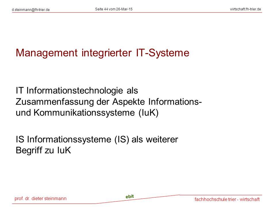 prof. dr. dieter steinmann d.steinmann@fh-trier.de Seite 44 vom 26-Mar-15wirtschaft.fh-trier.de fachhochschule trier - wirtschaft ebit Management inte