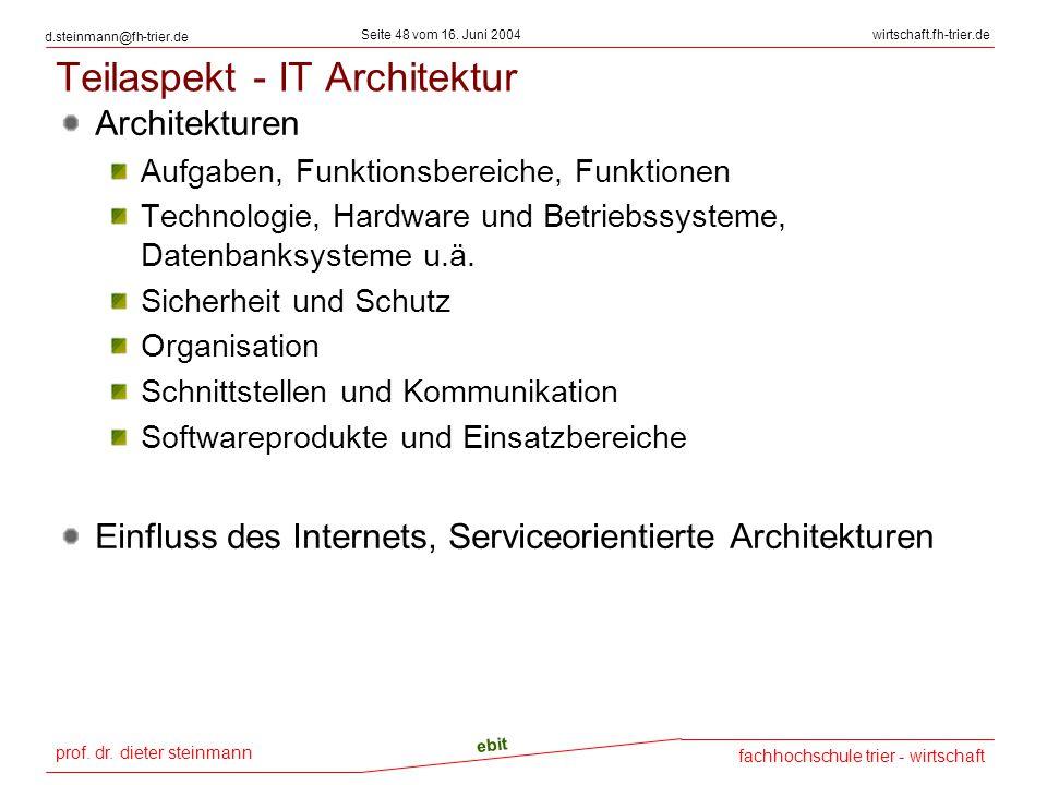prof. dr. dieter steinmann Seite 48 vom 16. Juni 2004 ebit fachhochschule trier - wirtschaft wirtschaft.fh-trier.de d.steinmann@fh-trier.de Teilaspekt