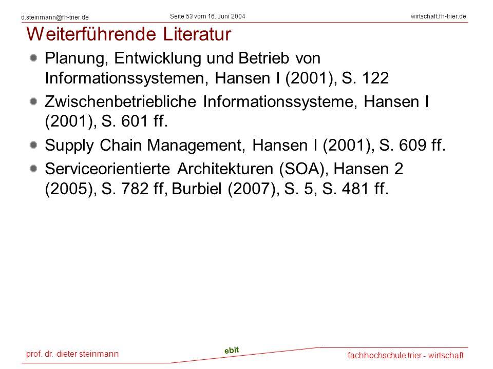 prof. dr. dieter steinmann Seite 53 vom 16. Juni 2004 ebit fachhochschule trier - wirtschaft wirtschaft.fh-trier.de d.steinmann@fh-trier.de Weiterführ