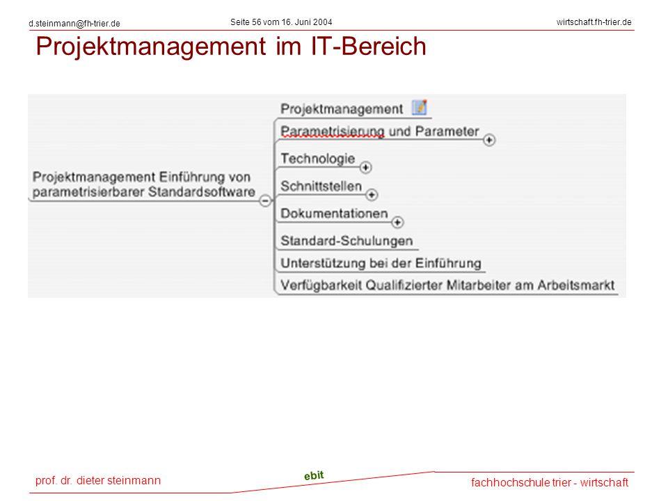 prof. dr. dieter steinmann Seite 56 vom 16. Juni 2004 ebit fachhochschule trier - wirtschaft wirtschaft.fh-trier.de d.steinmann@fh-trier.de Projektman