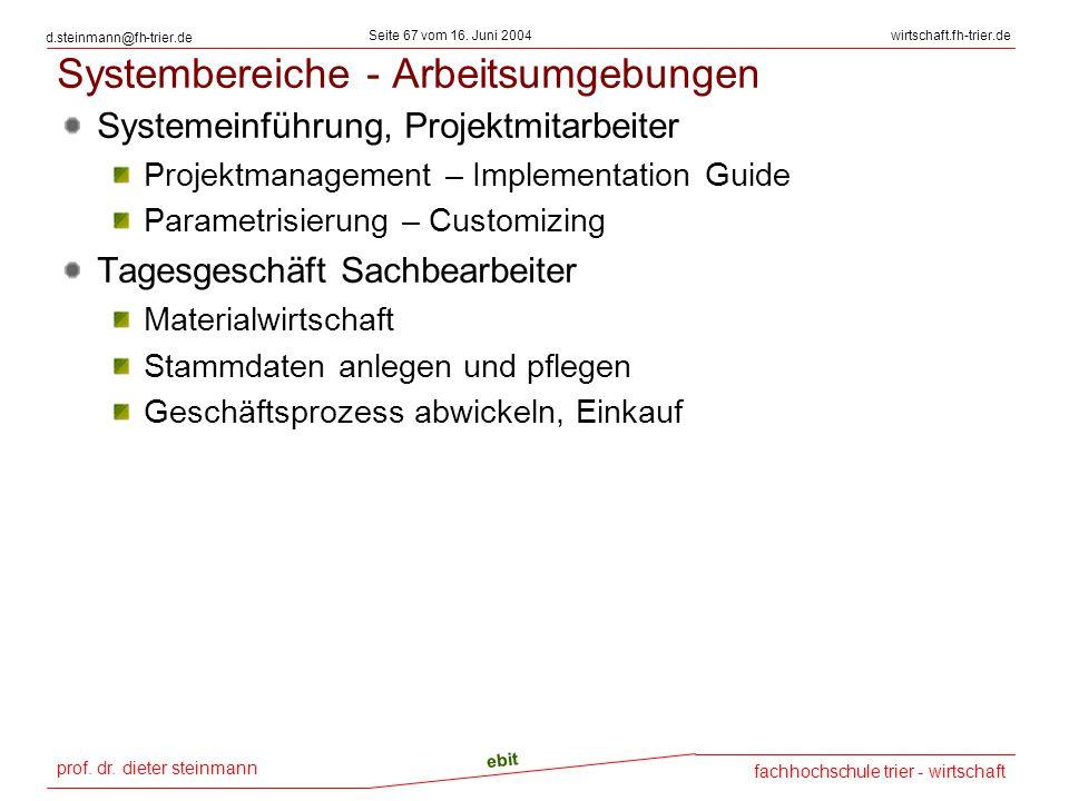 prof. dr. dieter steinmann Seite 67 vom 16. Juni 2004 ebit fachhochschule trier - wirtschaft wirtschaft.fh-trier.de d.steinmann@fh-trier.de Systembere