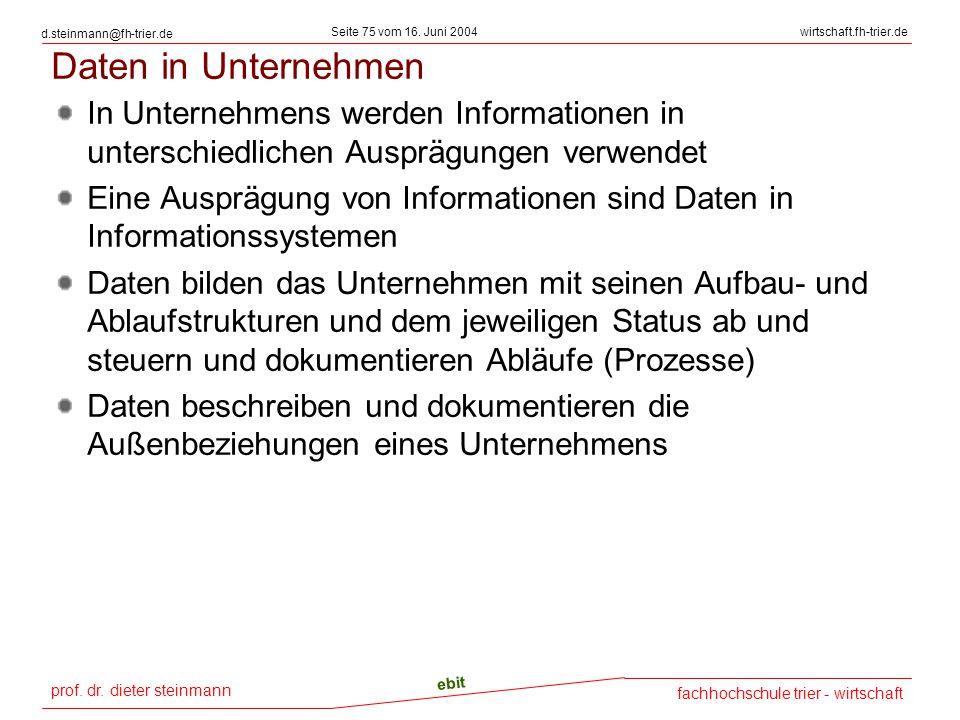 prof. dr. dieter steinmann Seite 75 vom 16. Juni 2004 ebit fachhochschule trier - wirtschaft wirtschaft.fh-trier.de d.steinmann@fh-trier.de Daten in U