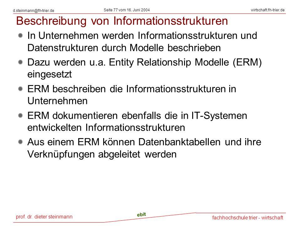 prof. dr. dieter steinmann Seite 77 vom 16. Juni 2004 ebit fachhochschule trier - wirtschaft wirtschaft.fh-trier.de d.steinmann@fh-trier.de Beschreibu