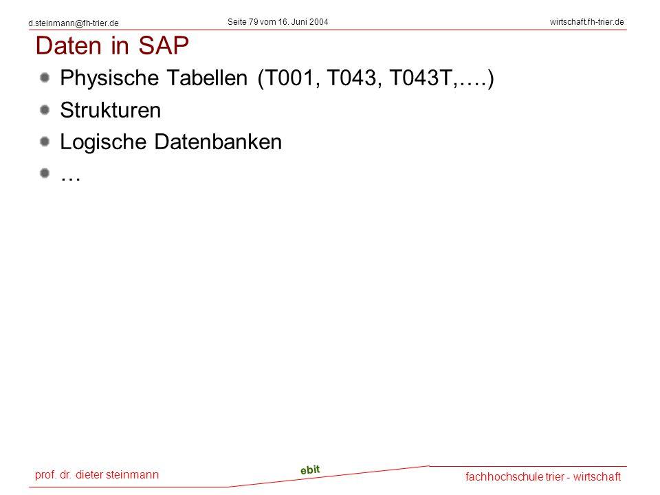 prof. dr. dieter steinmann Seite 79 vom 16. Juni 2004 ebit fachhochschule trier - wirtschaft wirtschaft.fh-trier.de d.steinmann@fh-trier.de Daten in S