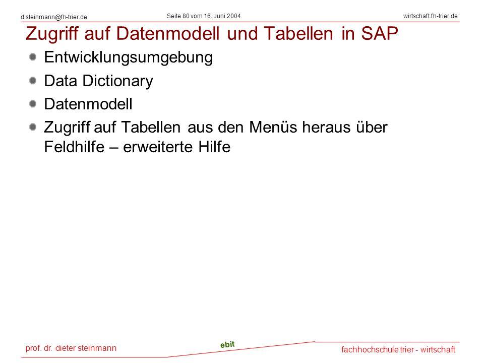 prof. dr. dieter steinmann Seite 80 vom 16. Juni 2004 ebit fachhochschule trier - wirtschaft wirtschaft.fh-trier.de d.steinmann@fh-trier.de Zugriff au