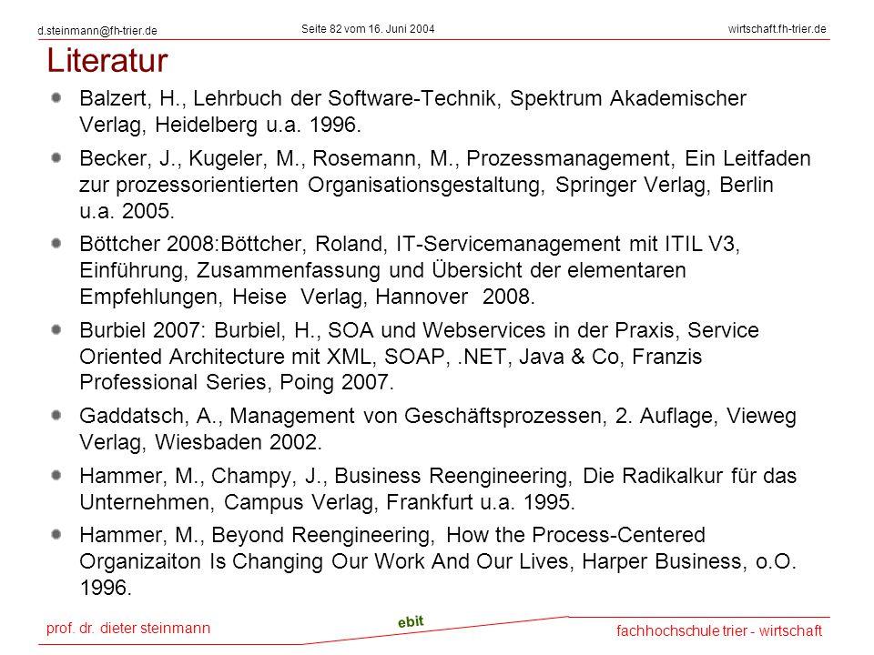 prof. dr. dieter steinmann Seite 82 vom 16. Juni 2004 ebit fachhochschule trier - wirtschaft wirtschaft.fh-trier.de d.steinmann@fh-trier.de Literatur