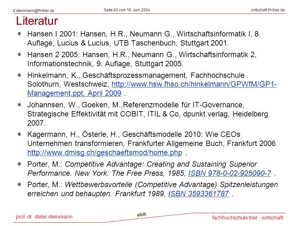 prof. dr. dieter steinmann Seite 83 vom 16. Juni 2004 ebit fachhochschule trier - wirtschaft wirtschaft.fh-trier.de d.steinmann@fh-trier.de Literatur
