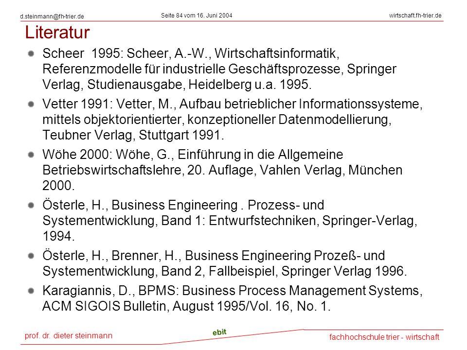prof. dr. dieter steinmann Seite 84 vom 16. Juni 2004 ebit fachhochschule trier - wirtschaft wirtschaft.fh-trier.de d.steinmann@fh-trier.de Literatur