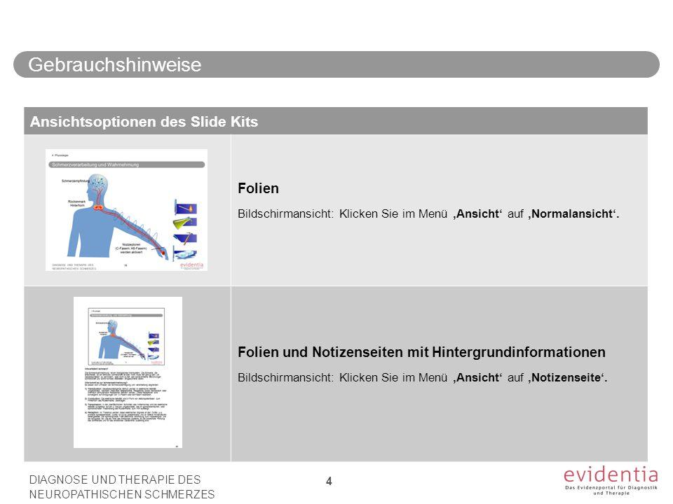 Ansichtsoptionen des Slide Kits Folien Bildschirmansicht: Klicken Sie im Menü 'Ansicht' auf 'Normalansicht'.