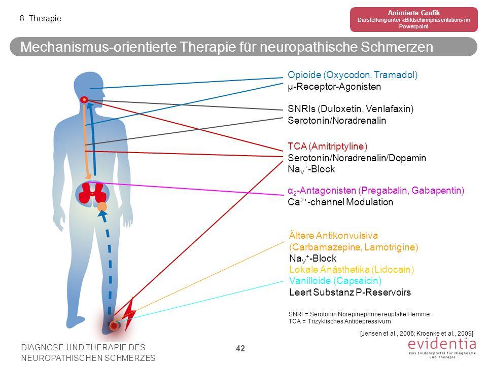 TCA (Amitriptyline) Serotonin/Noradrenalin/Dopamin Na V + -Block SNRIs (Duloxetin, Venlafaxin) Serotonin/Noradrenalin α 2 -Antagonisten (Pregabalin, G