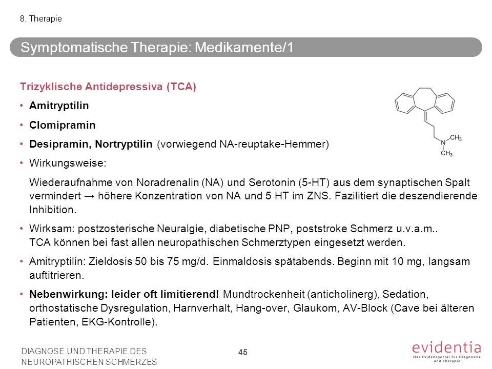 Trizyklische Antidepressiva (TCA) Amitryptilin Clomipramin Desipramin, Nortryptilin (vorwiegend NA-reuptake-Hemmer) Wirkungsweise: Wiederaufnahme von Noradrenalin (NA) und Serotonin (5-HT) aus dem synaptischen Spalt vermindert → höhere Konzentration von NA und 5 HT im ZNS.