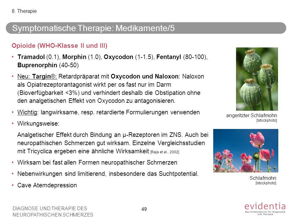 Symptomatische Therapie: Medikamente/5 Opioide (WHO-Klasse II und III) Tramadol (0.1), Morphin (1.0), Oxycodon (1-1.5), Fentanyl (80-100), Buprenorphi