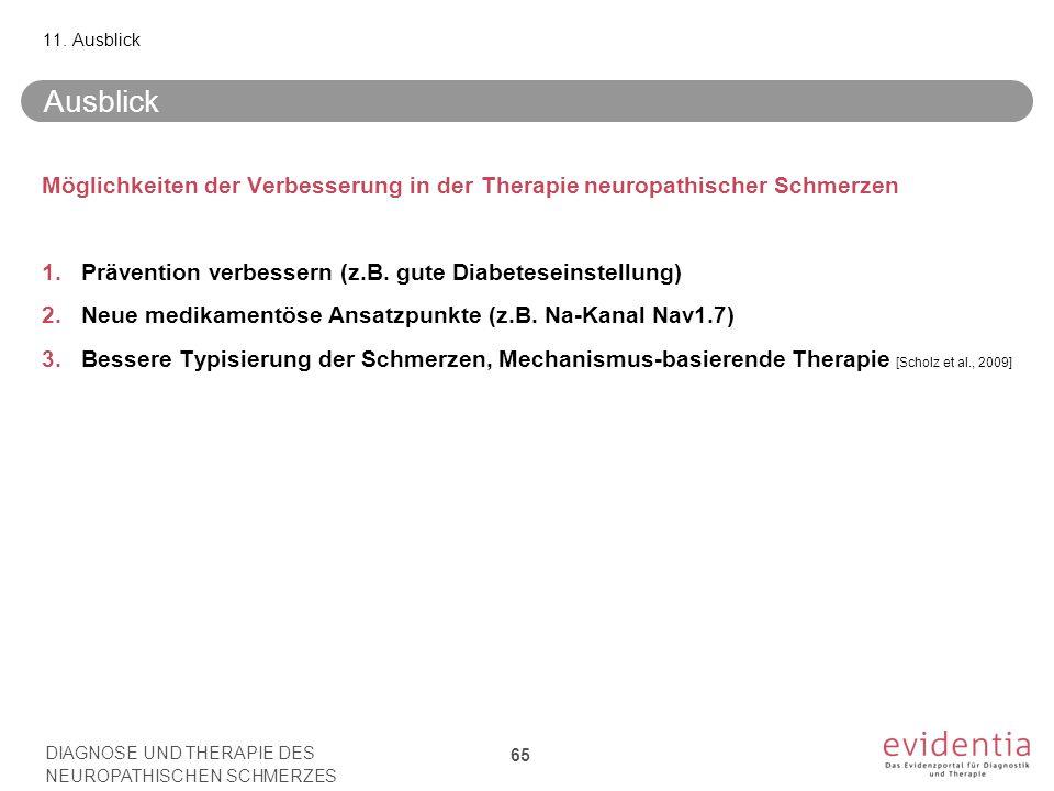 Ausblick Möglichkeiten der Verbesserung in der Therapie neuropathischer Schmerzen 1.Prävention verbessern (z.B. gute Diabeteseinstellung) 2.Neue medik