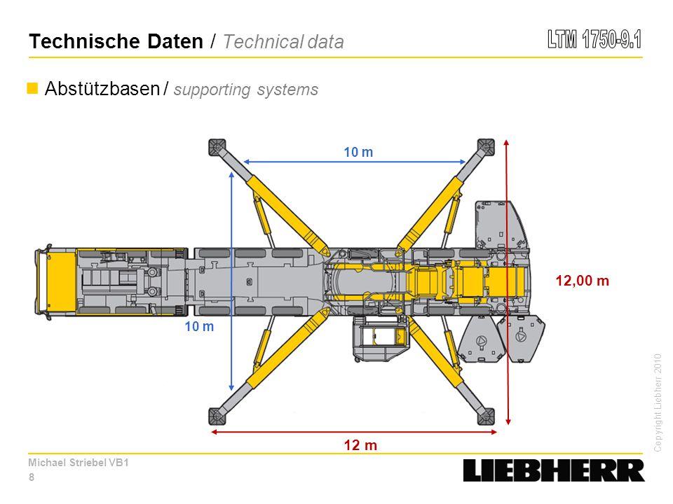 Copyright Liebherr 2010 Michael Striebel VB1 19 80 m Türme / Towers: 83 t bei / at 20 m Radius LTM 1500-8.1: 53,0 t bei / at 24 m Radius mit / with TY3SN (T 47,3 m + A 4 m + N 42 m) LTM 11200-9.1: 94,0 t bei / at 18 m Radius mit / with T7YVEF 30° (T 76,7 m + A 9,1 m + F 6,5 m) 142 t bei / at 18 m Radius mit / with T3YVEN (T 52,2 m + A 10,2 m + N 30 m) TYV2VEN 10 m V 5 m VE N 24,5 m Windkraft / windpower Einsatzmöglichkeiten / Possible applications
