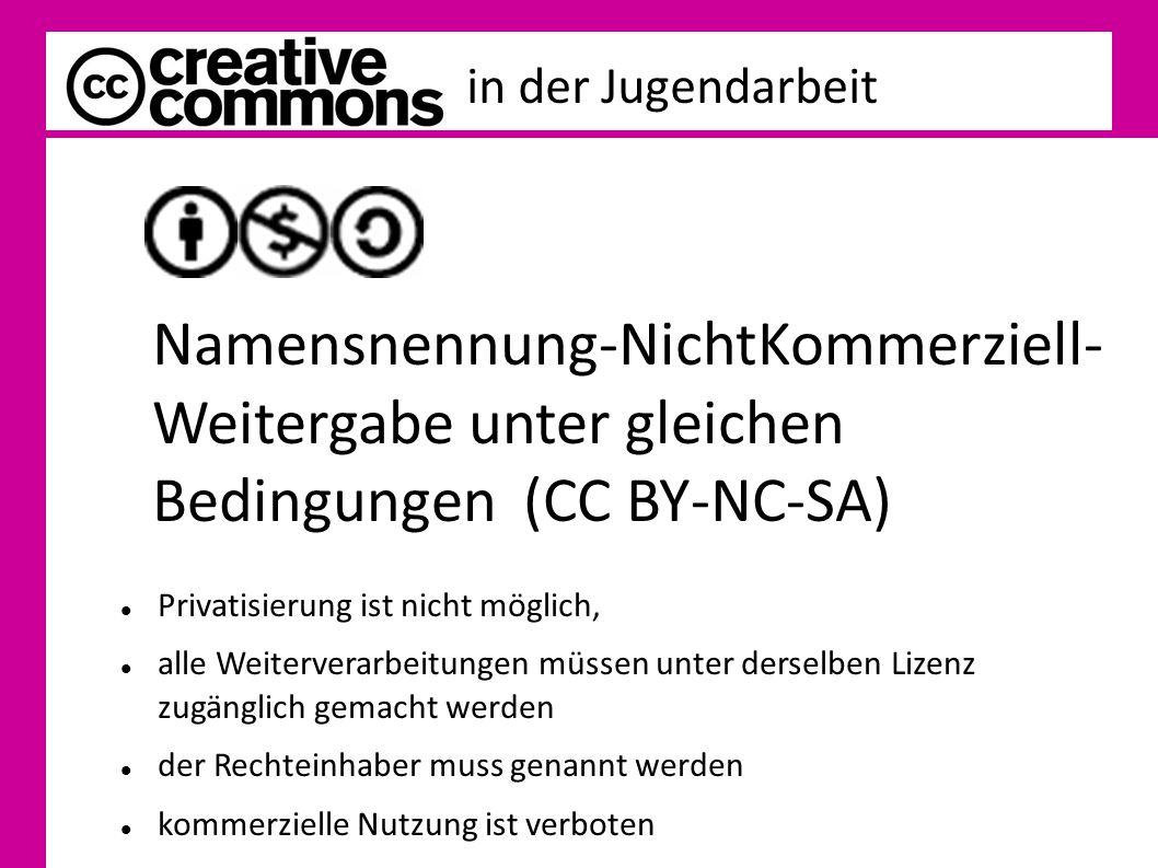 in der Jugendarbeit Namensnennung-NichtKommerziell- Weitergabe unter gleichen Bedingungen (CC BY-NC-SA) Privatisierung ist nicht möglich, alle Weiterv