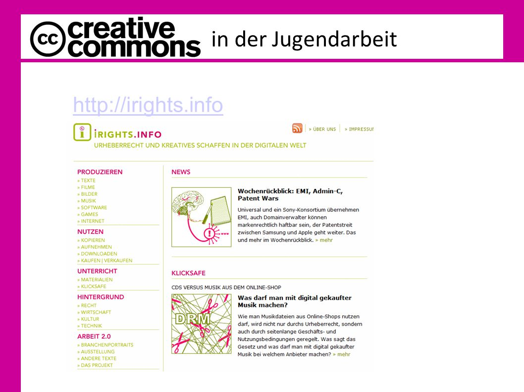 in der Jugendarbeit http://irights.info