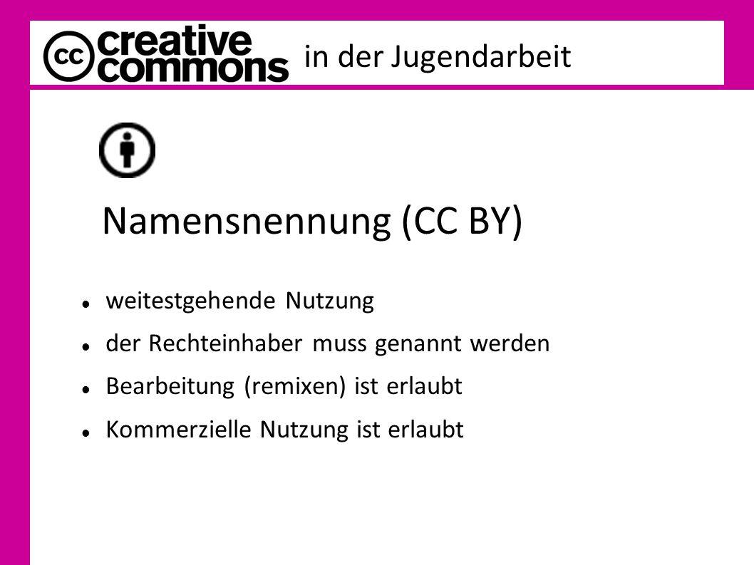 in der Jugendarbeit Namensnennung (CC BY) weitestgehende Nutzung der Rechteinhaber muss genannt werden Bearbeitung (remixen) ist erlaubt Kommerzielle Nutzung ist erlaubt
