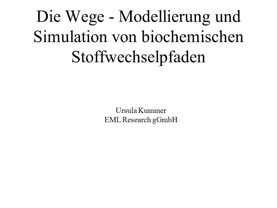 Die Wege - Modellierung und Simulation von biochemischen Stoffwechselpfaden Ursula Kummer EML Research gGmbH