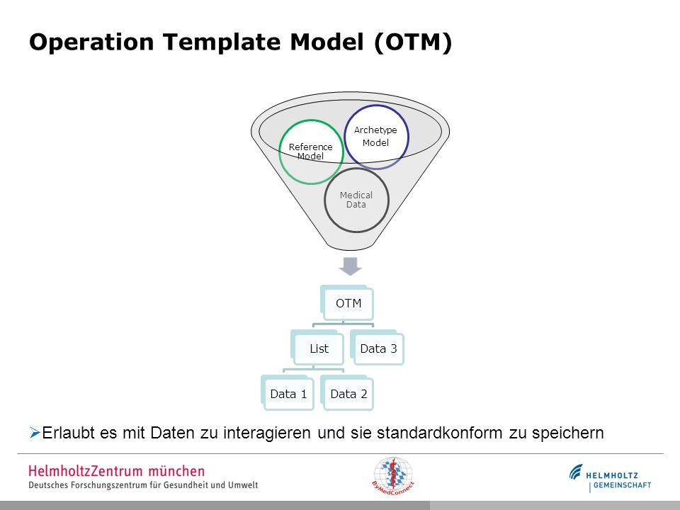 Operational Template Model Objektorientiertes Modell Implementiert mit Hilfe des GoogleWebToolKits Minimale Schnittmenge Structures: StructureObject, List, Alternative Data types: FieldList, Boolean, Integer, Real, String, CodedText, SimpleText
