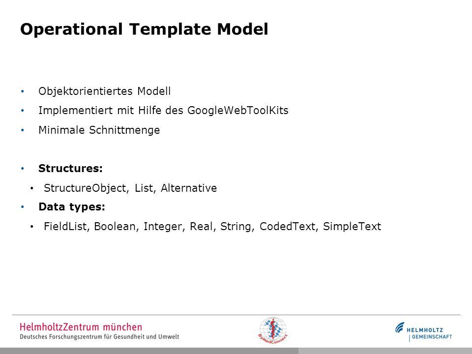 Operational Template Model Objektorientiertes Modell Implementiert mit Hilfe des GoogleWebToolKits Minimale Schnittmenge Structures: StructureObject,