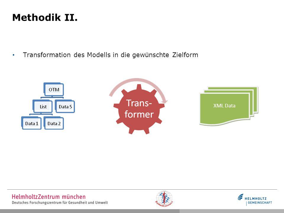 Methodik II. Transformation des Modells in die gewünschte Zielform XML Data