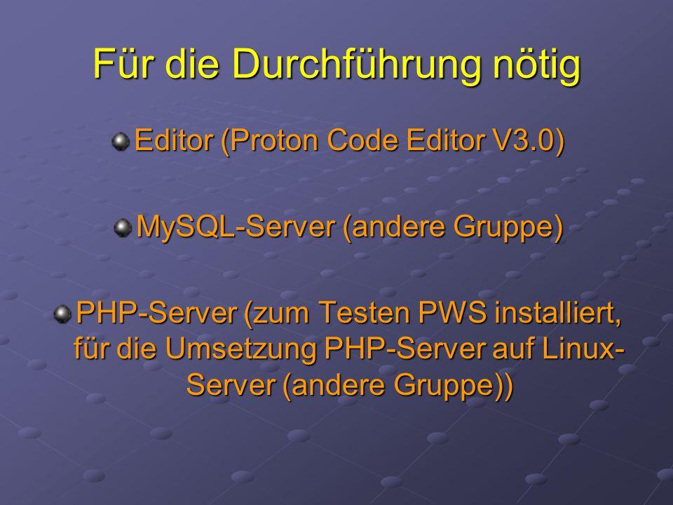 Für die Durchführung nötig Editor (Proton Code Editor V3.0) MySQL-Server (andere Gruppe) PHP-Server (zum Testen PWS installiert, für die Umsetzung PHP-Server auf Linux- Server (andere Gruppe))