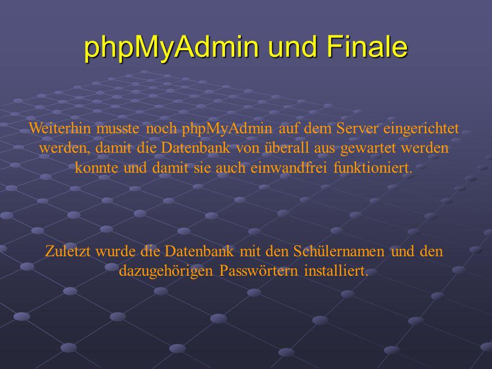 phpMyAdmin und Finale Weiterhin musste noch phpMyAdmin auf dem Server eingerichtet werden, damit die Datenbank von überall aus gewartet werden konnte und damit sie auch einwandfrei funktioniert.