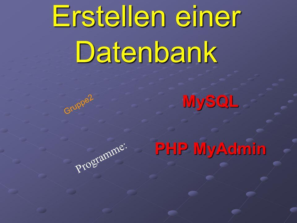 Erstellen einer Datenbank MySQL PHP MyAdmin Programme: Gruppe2