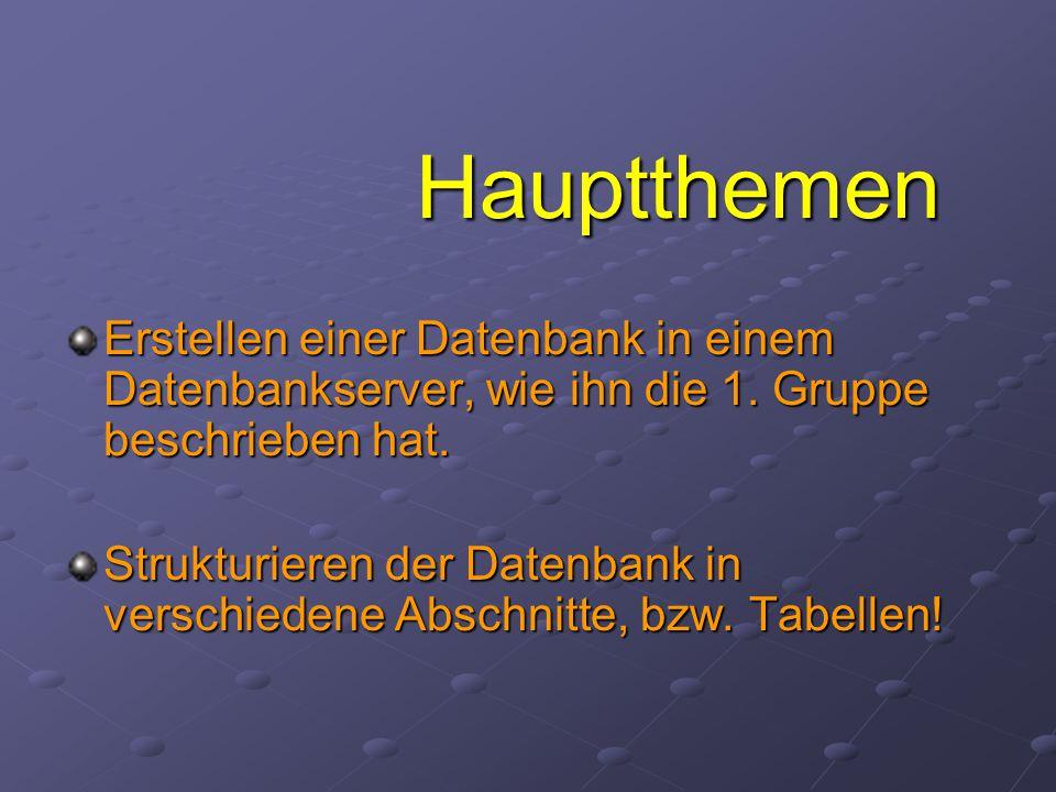 Hauptthemen Erstellen einer Datenbank in einem Datenbankserver, wie ihn die 1.