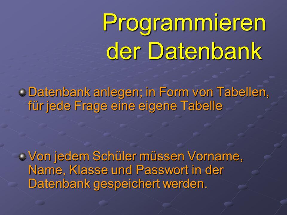 Programmieren der Datenbank Datenbank anlegen; in Form von Tabellen, für jede Frage eine eigene Tabelle Von jedem Schüler müssen Vorname, Name, Klasse und Passwort in der Datenbank gespeichert werden.