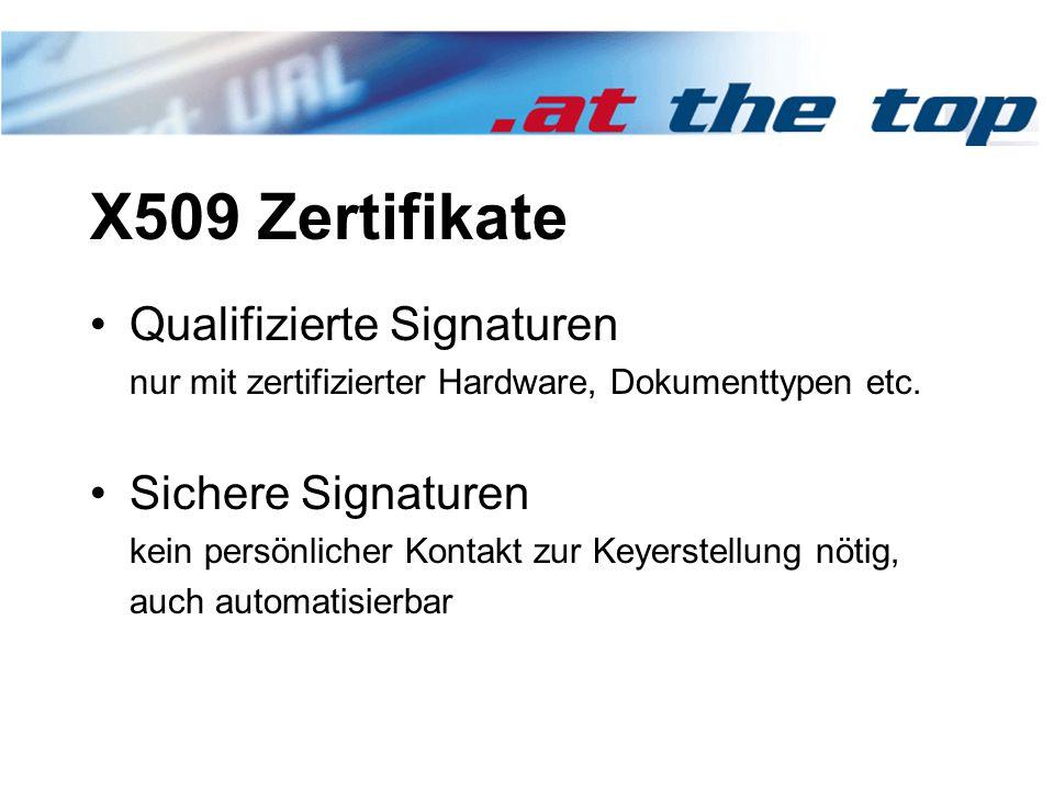 X509 Zertifikate Qualifizierte Signaturen nur mit zertifizierter Hardware, Dokumenttypen etc.